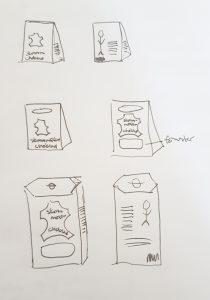 Skiss på chokladförpackning