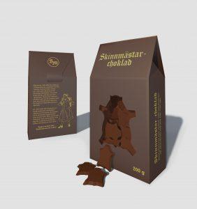Chokladförpackning med Skinnmästarchoklad