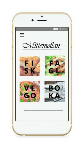 En mobil som visar en meny med ordsymboler till en fiktiv restaurang.